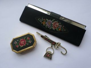 Vintage Embroidery Style Umbrella Brooch & Similar Pill Box & Mirror