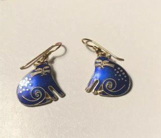Laurel Burch Keshire Cat Vintage Blue Cloisonne Wire Earrings Signed