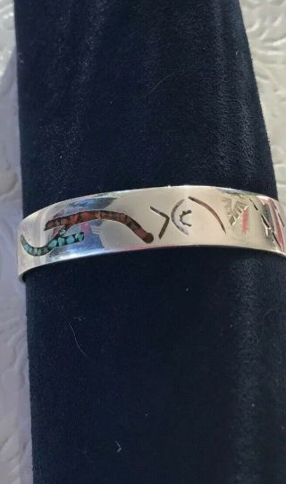 Vintage Native American Silver Small Tutquoise And Coral Inlaid Cuff Bracelet