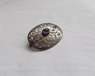 Vintage Silver Brooch With Amethyst