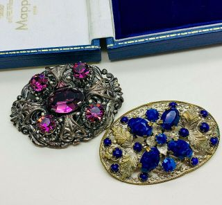 Vintage Jewellery 2 Czech Art Deco Rhienstone/cabochon Filigree Brooches/pins