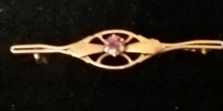 9ct Rose Gold & Amethyst Stone Vintage Brooch