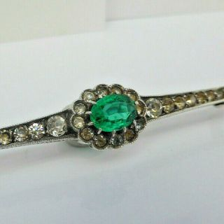 Fine Lovely Vintage Art Deco Sterling Silver & Emerald Paste Pin Brooch 4.  7g