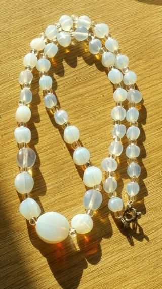 Czech Vintage Art Deco Moonstone Glass Bead Necklace Signed
