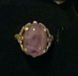 Vintage Sterling Silver Ring With Cabochon Rose Quartz Stone Size O/p