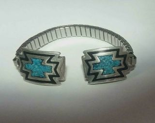 Vintage Navajo Sterling Silver Turquoise & Jet Inlay Watch Band Tips