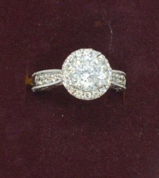 Vintage Silver Ladies Tacori Cubic Zirconia Cluster Ring.  Size I 1/2.