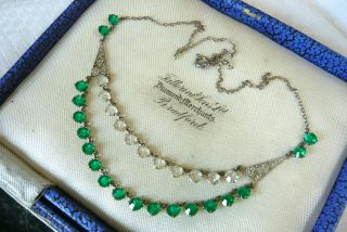 Vintage Jewellery Art Deco Emerald Green Clear Open Backed Necklace Lovely