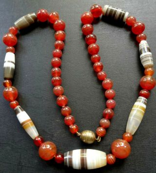 Vintage Art Deco Carnelian Red & Banded Agate Bead Necklace Barrel Clasp - Q66