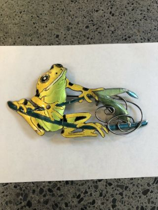 Vintage Sterling Silver Enamel Cloisonné Whimsical Fishing Frog Pin Brooch S925