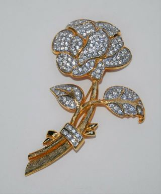 Vintage Signed Nolan Miller Large Flower Goldtone Pave - Set Rhinestone Pin Brooch