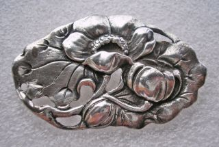 Large Vintage Art Nouveau Design Silver Brooch With Poppies