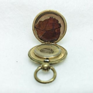 Vintage Gold - Filled Engraved Round Locket With Hair And Leaf Inside