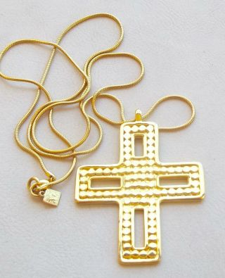 Anne Klein Vintage Necklace Chunky Gold Maltese Cross Pendant,  Signed Ak