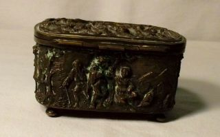 Vintage Footed Bronze Jewelry Casket With Drinking Scenes,  3 1/2 Inches Long