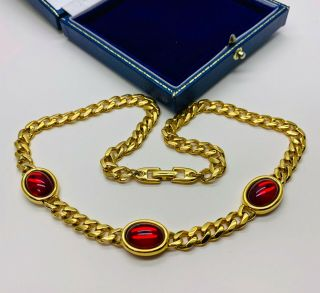 Vintage Jewellery Signed Napier Red Bead Necklace