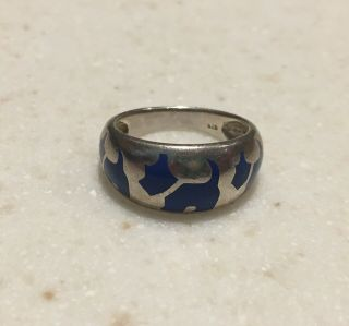 Vintage Sterling 925 Scotty Dog Blue Inlay Ring