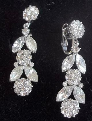 Trifari Vintage Earrings Haute Couture Ice Rhinestone Flower Chandeliers