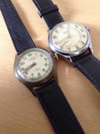 2 Vintage Gents Wristwatches For Spares / Repair As N.  R.  Smiths Empire & Elrex.