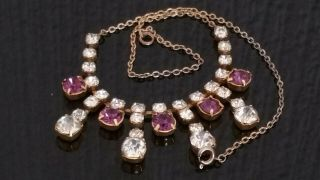 Czech Vintage Sparkly Clear And Purple Rhinestone Necklace