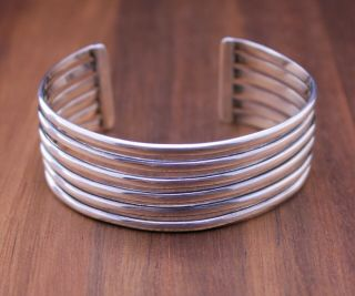 "Vintage Ati Mexico "" Stacked 6 Wire "" 24mm Cuff Bracelet Sterling Silver Size 7 """