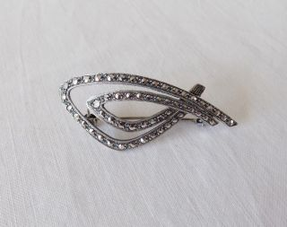 Vintage Silver Brooch With Marcasite Stones
