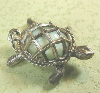 Vintage English Sterling Silver Turtle With Light Jade Green Gem Set Shell Charm
