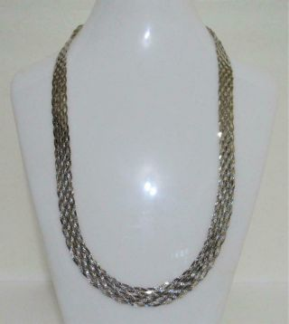 "925 Sterling Silver 10 Strand Necklace Vintage Italy 24 "" Long 30.  7 G.  Not Scrap"