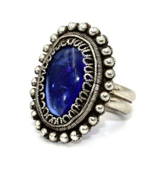 Vintage Mid 20thc Chinese Silver Large Long Finger Ring,  Blue Stone