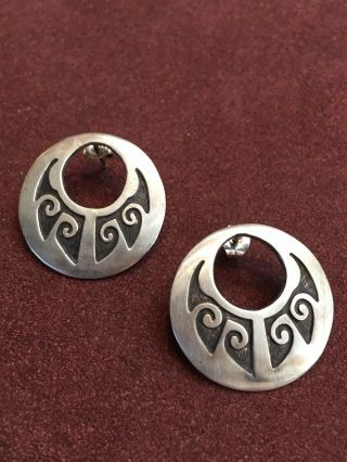 Vtg Native American Hopi Danielle Wadsworth Sterling Silver Tribal Post Earrings