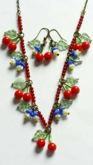 Czech Cherry/white Flower Glass Bead Necklace/earrings Set Vintage Deco Style