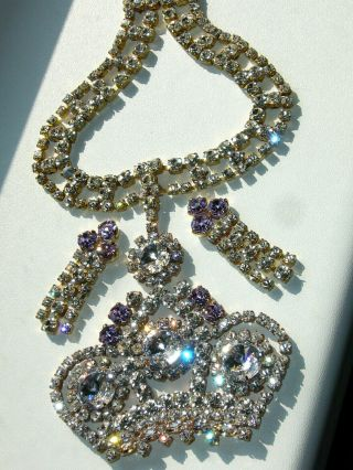 1960s Rhinestone Vintage Preciosa Necklace Crown King Signed Bijoux M.  G F334