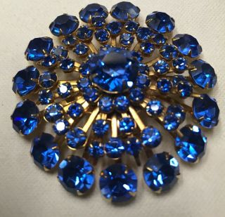 Big Vintage Blue Rhinestone Rivet Back Brooch High End Stunning