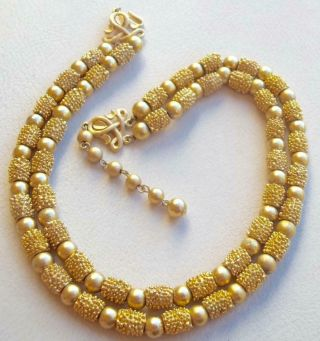 Trifari Vintage Necklace Gold Textured Glass Beads Electra 1960