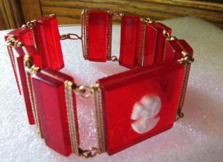 Vintage Glowing Candy Apple Red See Thru Panel Bracelet Tiny Center White Cameo