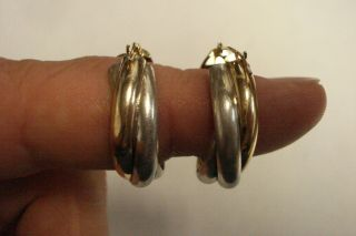 "Vintage 1 "" Inch 1/20 10 Kt Gold Filled & Sterling Crossed Hoop Earrings.  925"