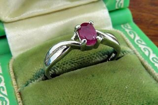 Vintage Sterling Silver Modern Natural Oval Ruby Solitaire Ring