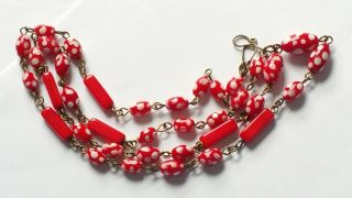 Czech Red Doted Glass Bead Necklace Vintage Deco Style
