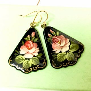 Vintage Lacquered Paper Mache Handpainted Floral Earrings Russia