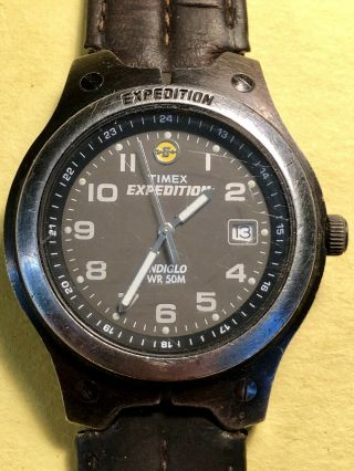 Vintage Timex Expedition Watch Indiglo Wr 50m Leather Band Battery
