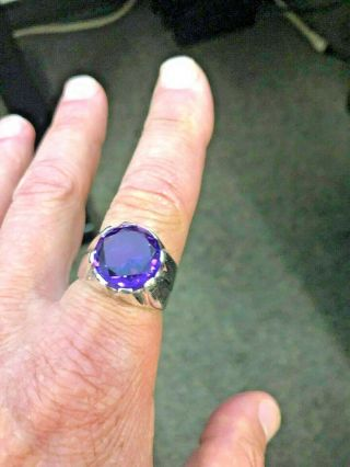 Vintage Mexican Taxco Silver 925 Band Large Solitaire Amethyst Ring Sz 11.  5