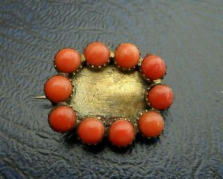 Vintage Jewellery Georgian Gold Red Coral Mourning Brooch Lace Pin A/f