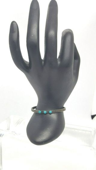 Vintage Fred Harvey Coin Silver Turquoise Bracelet Unmarked