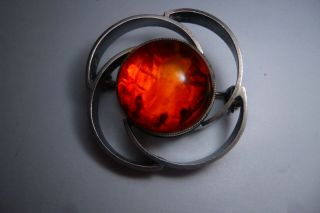 Vintage Jewellery This Is A Gorgeous Old 985 Silver Amber Brooch Pin