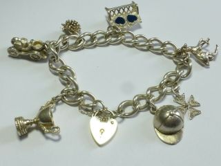 Vintage Sterling Silver Charm Bracelet With 7 Charms 40g 20cm Cb15