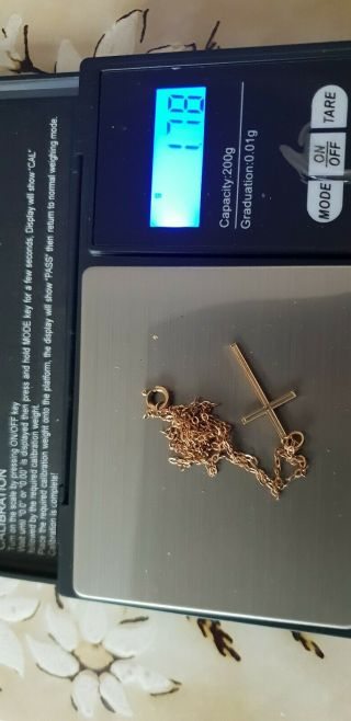 Vintage 9ct Gold Cross With Chain - Scrap See Photos Fully Hallmarked Vgc