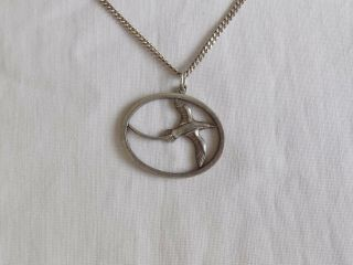 Vintage Silver Necklace With Bird Swallow Pendant