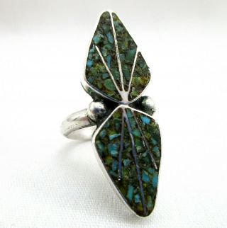 Vtg Native American Sterling Silver Crushed Turquoise Ring Size 4.  75