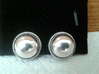 Vintage Taxco Th - 13 Clip On Dome Rope Earrings Mexico 925 Sterling Silver
