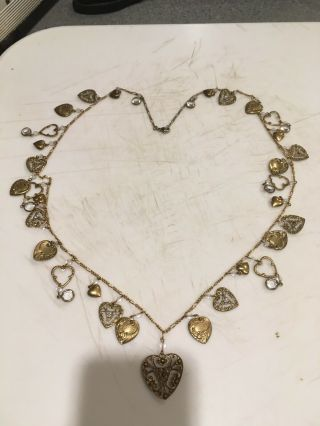 "Vintage 30 "" Multi Heart Crystal Charm Necklace"